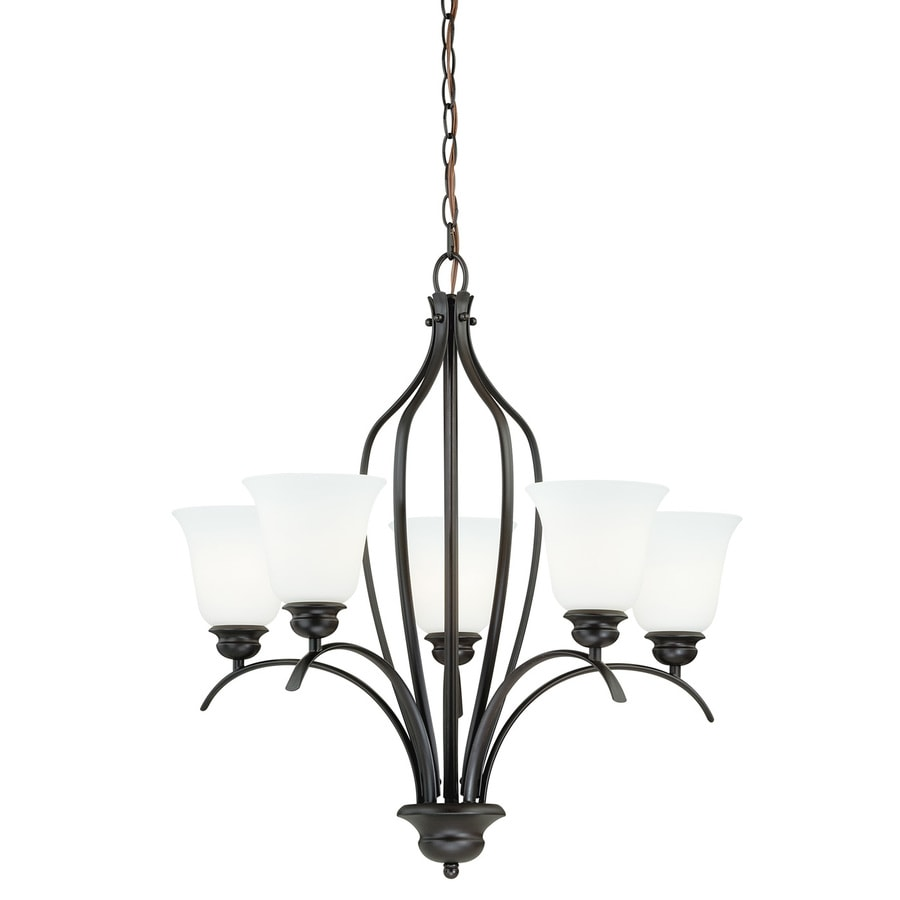 Cascadia Darby 26-in 5-Light New bronze Shaded Chandelier