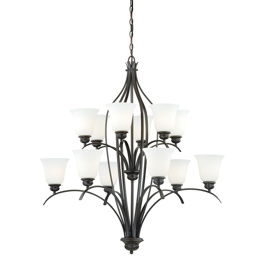Cascadia Darby 36-in 12-Light New Bronze Tiered Chandelier