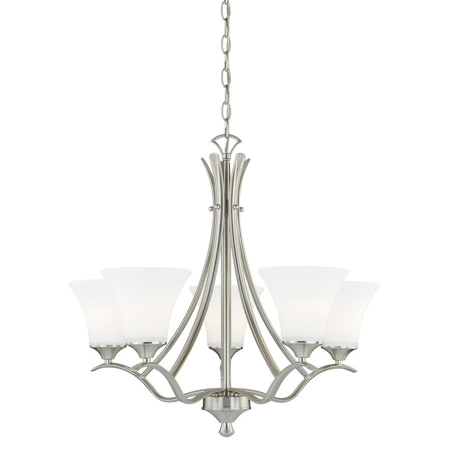 Cascadia Cordoba 25.5-in 5-Light Satin Nickel Shaded Chandelier