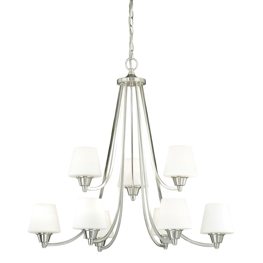 Cascadia Calais 30-in 9-Light Satin Nickel Tiered Chandelier