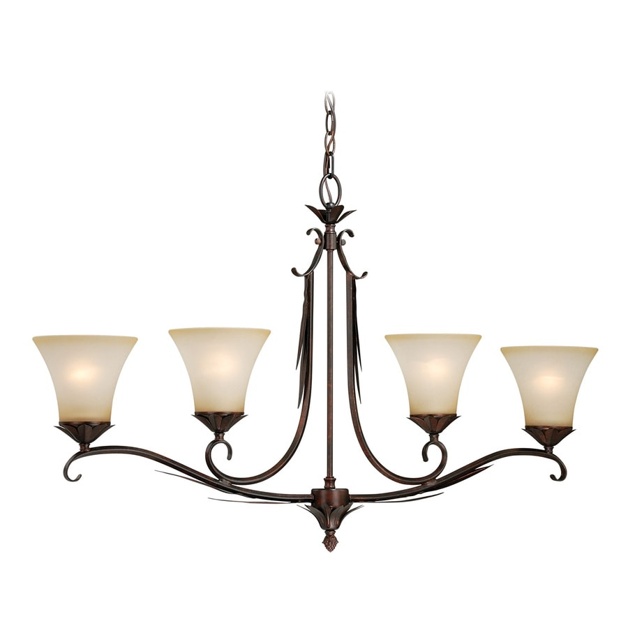 Cascadia Coricelli 37.25-in W 4-Light Royal Bronze Kitchen Island Light with Tinted Shade