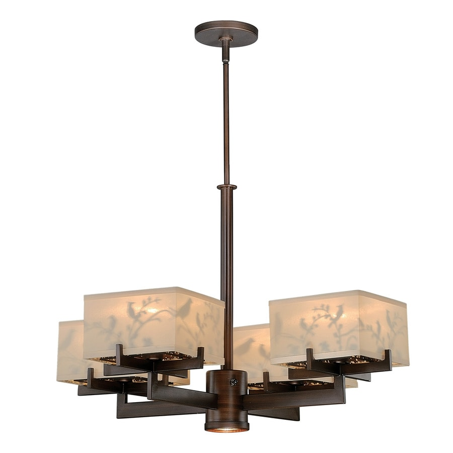 Cascadia Aviary 28.375-in 5-Light Venetian bronze Craftsman Shaded Chandelier