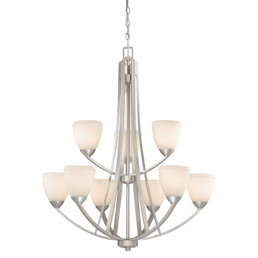 Cascadia Helsinki 33-in 9-Light Brushed Nickel Tiered Chandelier