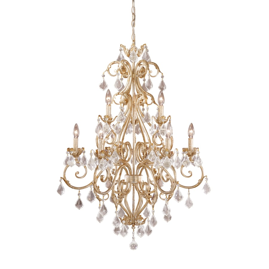 Cascadia Newcastle 29-in 9-Light Gilded White Gold Tiered Chandelier