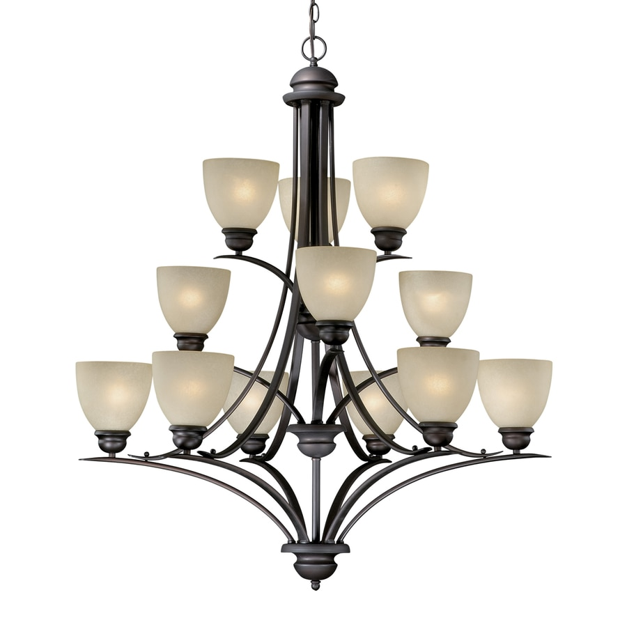 Cascadia Avalon 35.5-in 12-Light Oiled Burnished Bronze Tinted Glass Tiered Chandelier