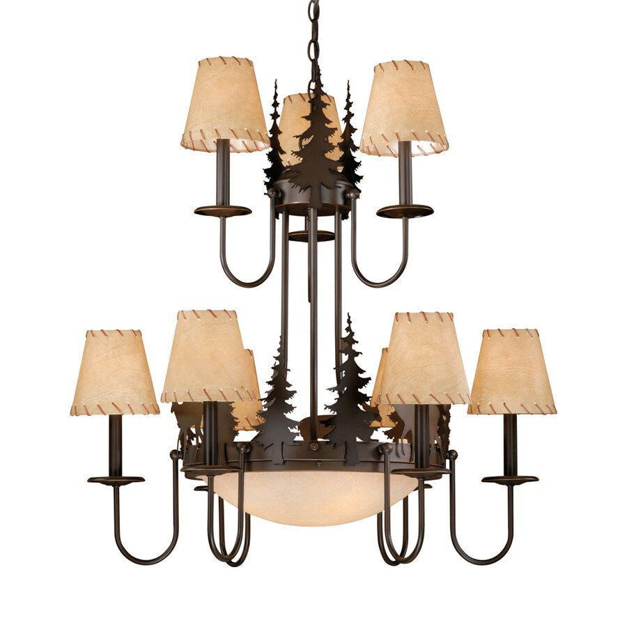 Cascadia Bryce 31-in 12-Light Burnished Bronze Rustic Tinted Glass Tiered Chandelier