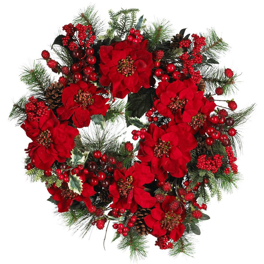 Nearly Natural 24-in Indoor Red Poinsettia Artificial Christmas Wreath