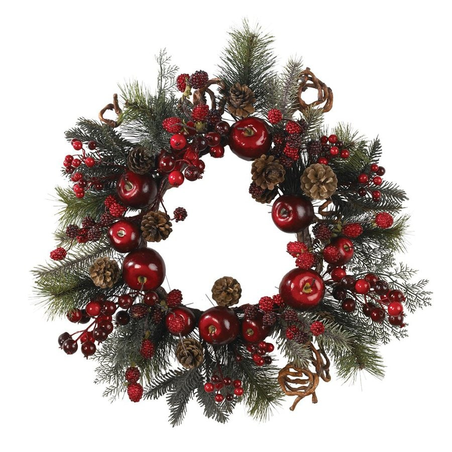 Nearly Natural Apple 22-in Un-Lit Crimson Berry Artificial Christmas Wreath