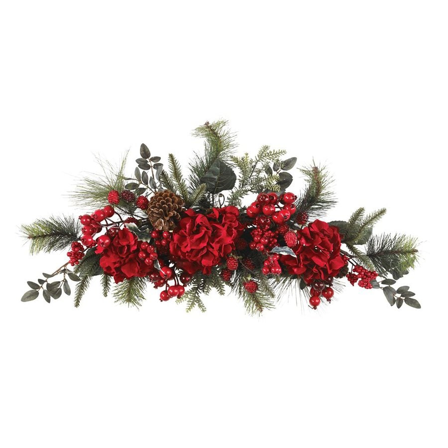 Nearly Natural Holiday Hydrangea Indoor Unlit 2.5-ft L Garland