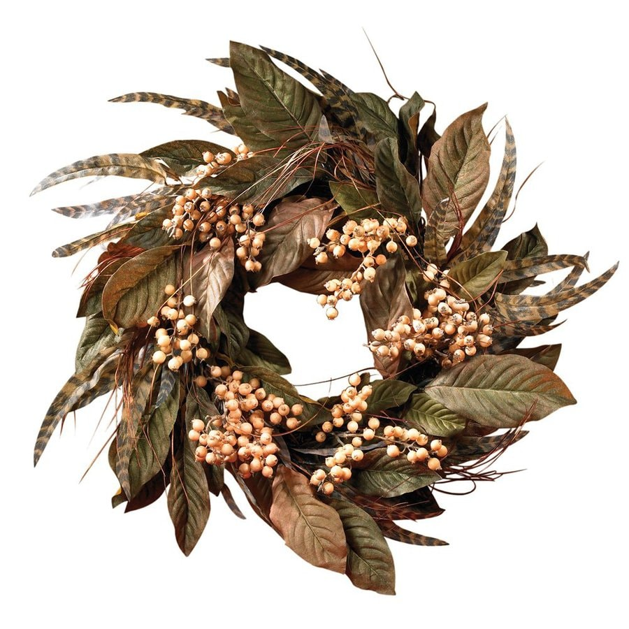 Nearly Natural 24-in Unlit Feather Berry Leaf Artificial Thanksgiving Wreath