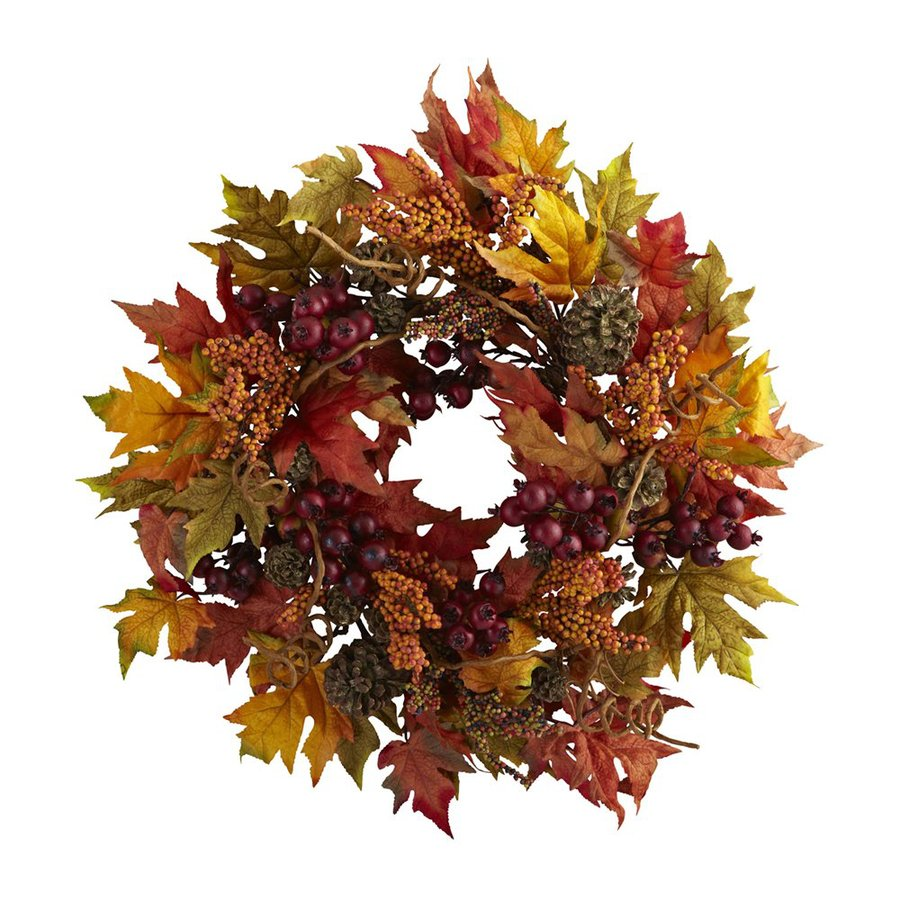 Nearly Natural 24-in Unlit Maple Leaf and Berry Artificial Thanksgiving Wreath