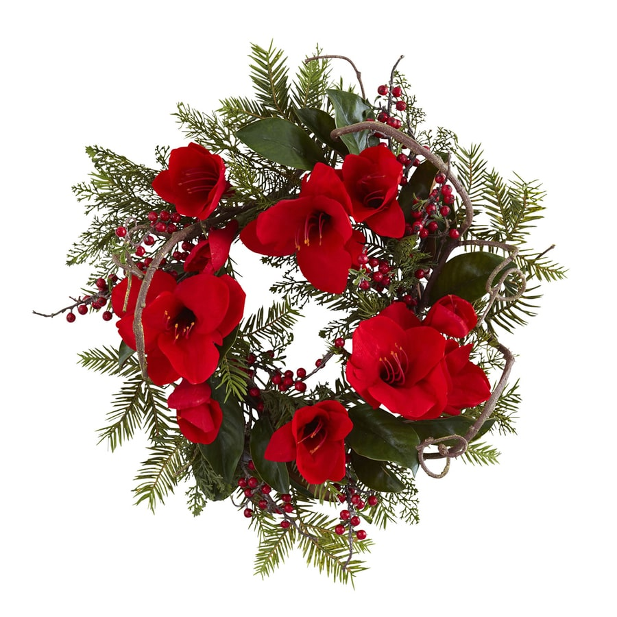 Shop nearly natural 24 in indoor red amaryllis artificial Christmas wreath decorations