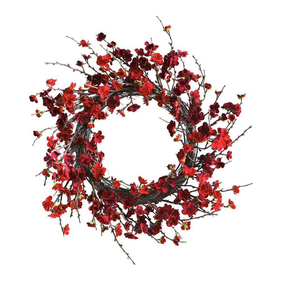 Nearly Natural Plum 24-in Un-Lit Red Blossom Artificial Christmas Wreath
