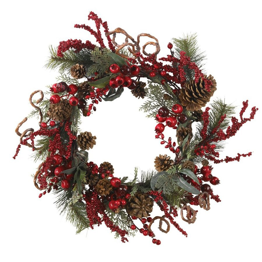Nearly Natural 24-in Un-Lit Green/Red Berry Artificial Christmas Wreath