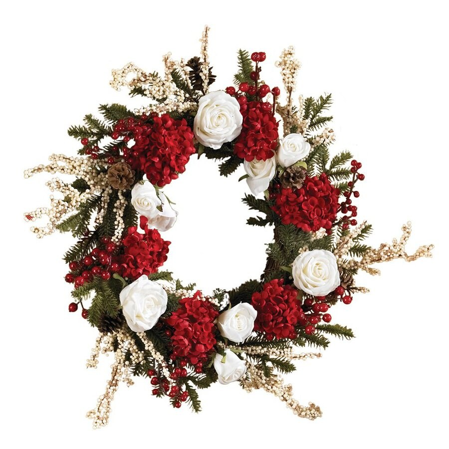 Nearly Natural 24-in Un-Lit Red/White Hydrangea Artificial Christmas Wreath