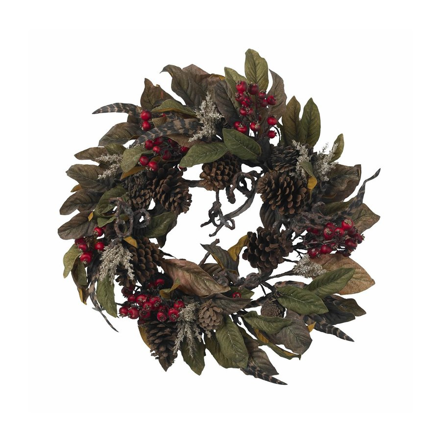 Nearly Natural Pine Cone 24-in Indoor Brown Berry Artificial Christmas Wreath