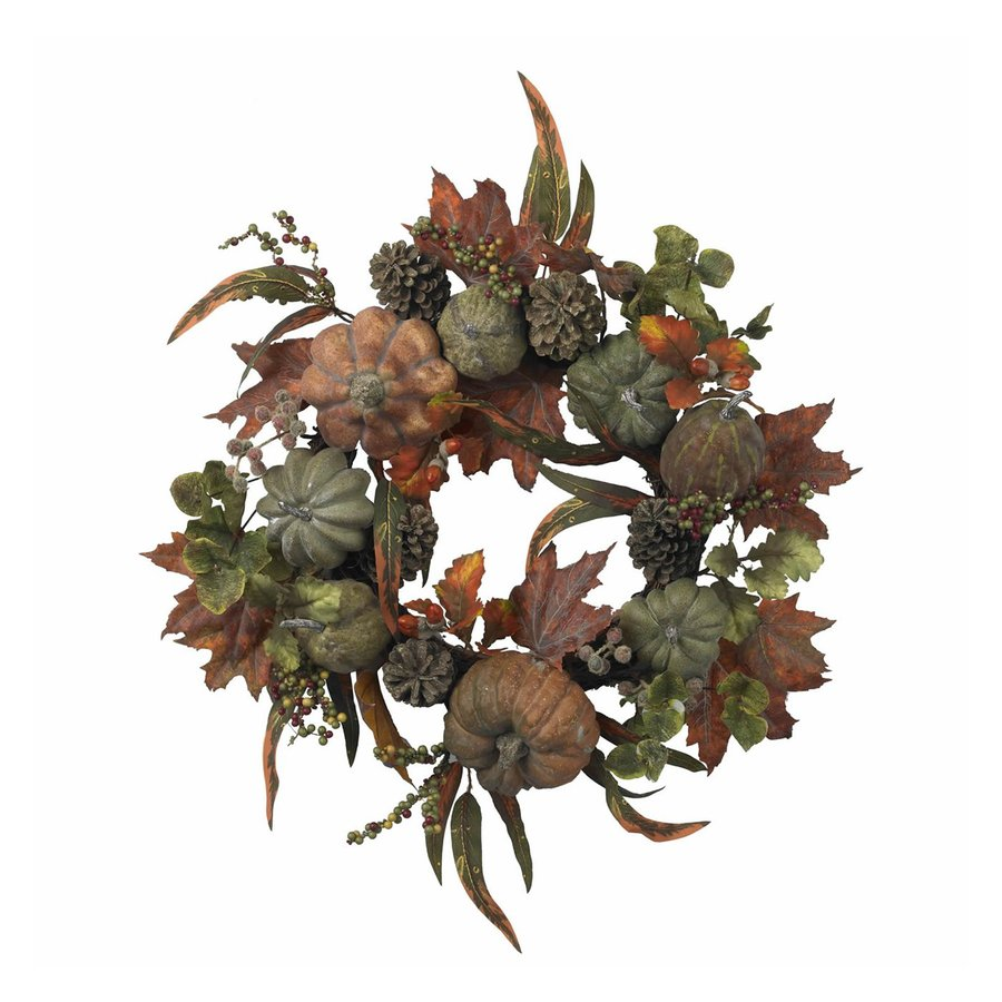 Nearly Natural 24-in Green/Orange Indoor Gourd Artificial Thanksgiving Wreath