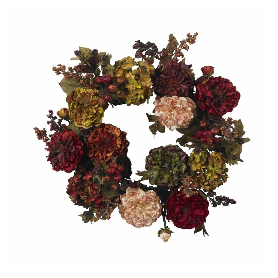 Nearly Natural 22-in Red autumn Indoor Flower Artificial Thanksgiving Wreath