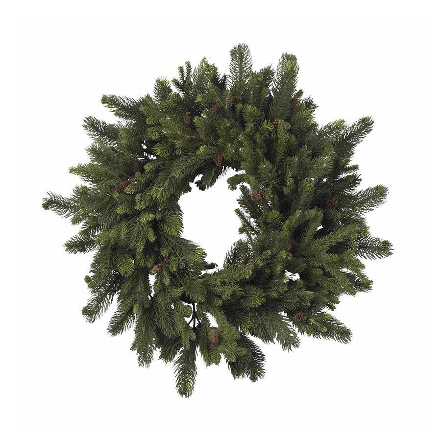 Nearly Natural 30-in Un-Lit Green Pine Artificial Christmas Wreath