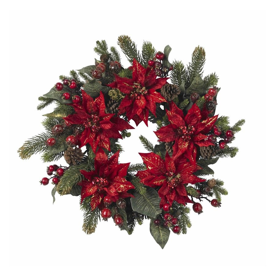 Nearly Natural 24-in Un-Lit Red Poinsettia Artificial Christmas Wreath