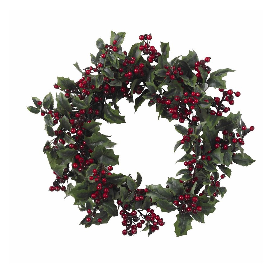 Nearly Natural Holly 24-in Un-Lit Red/Green Berry Artificial Christmas Wreath