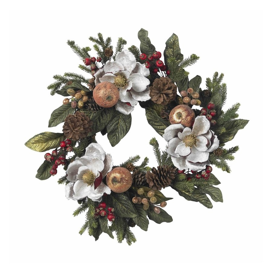 Nearly Natural Magnolia 24-in Un-Lit White Pine Artificial Christmas Wreath