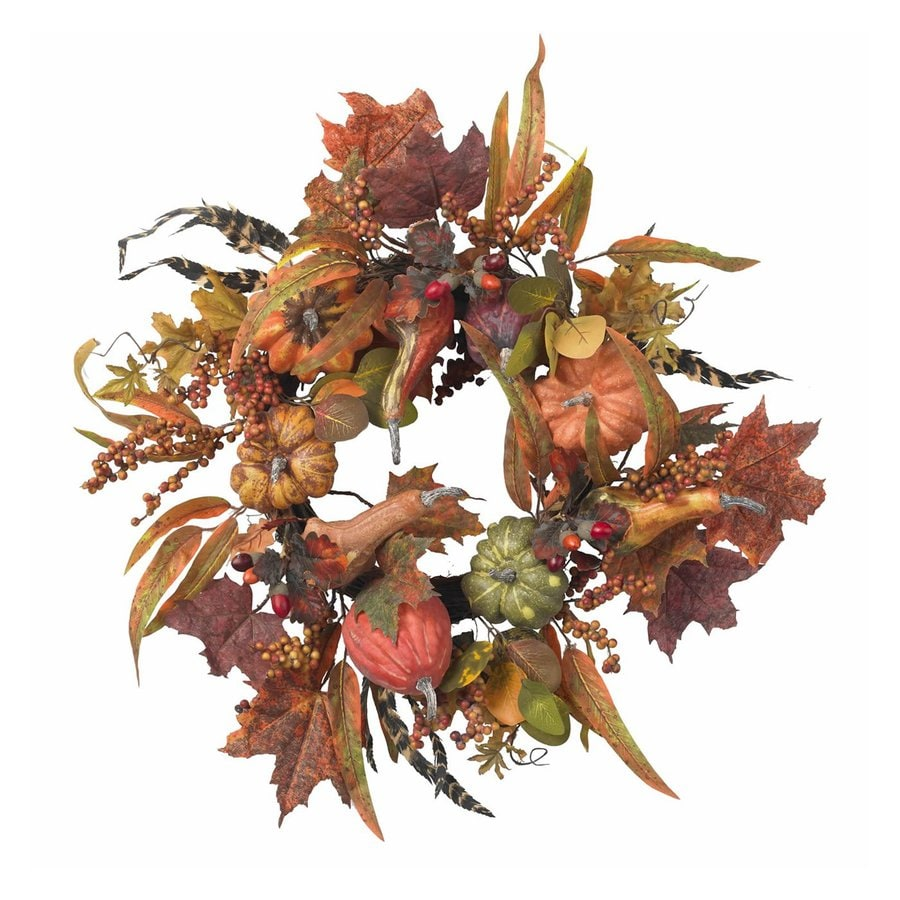 Nearly Natural 24-in Unlit Pumpkin Berry Artificial Thanksgiving Wreath