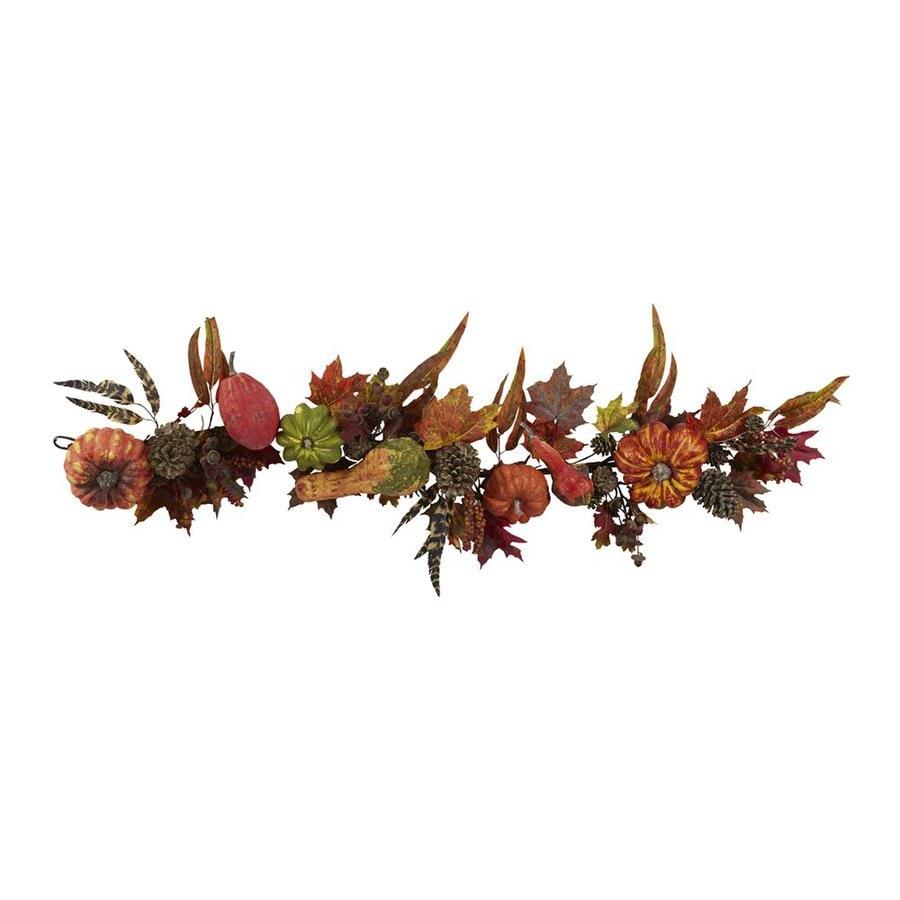 Nearly Natural Unlit 4.5-ft Leaf and Pumpkin Artificial Halloween Garland