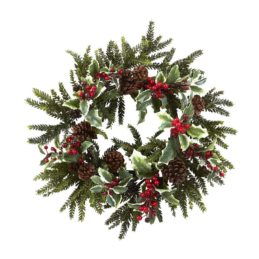 Nearly Natural Holly 22-in Indoor Red/green Berry Artificial Christmas Wreath