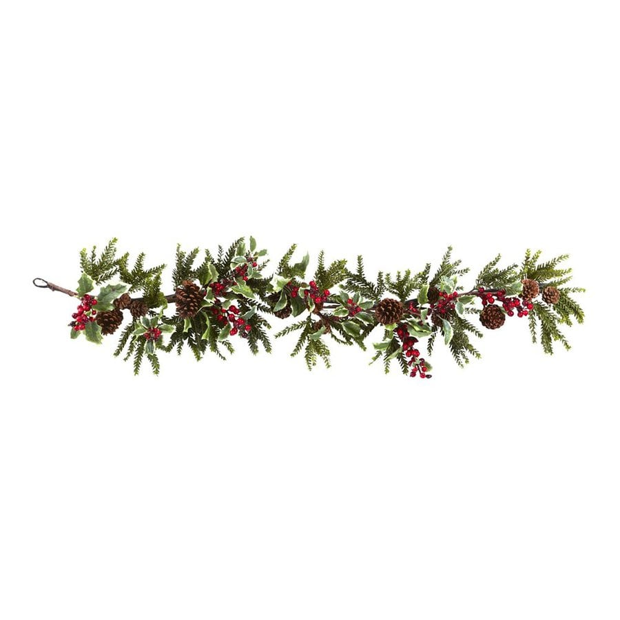 Nearly Natural Indoor Unlit Holly Berry 4.5-ft L Pinecone Garland
