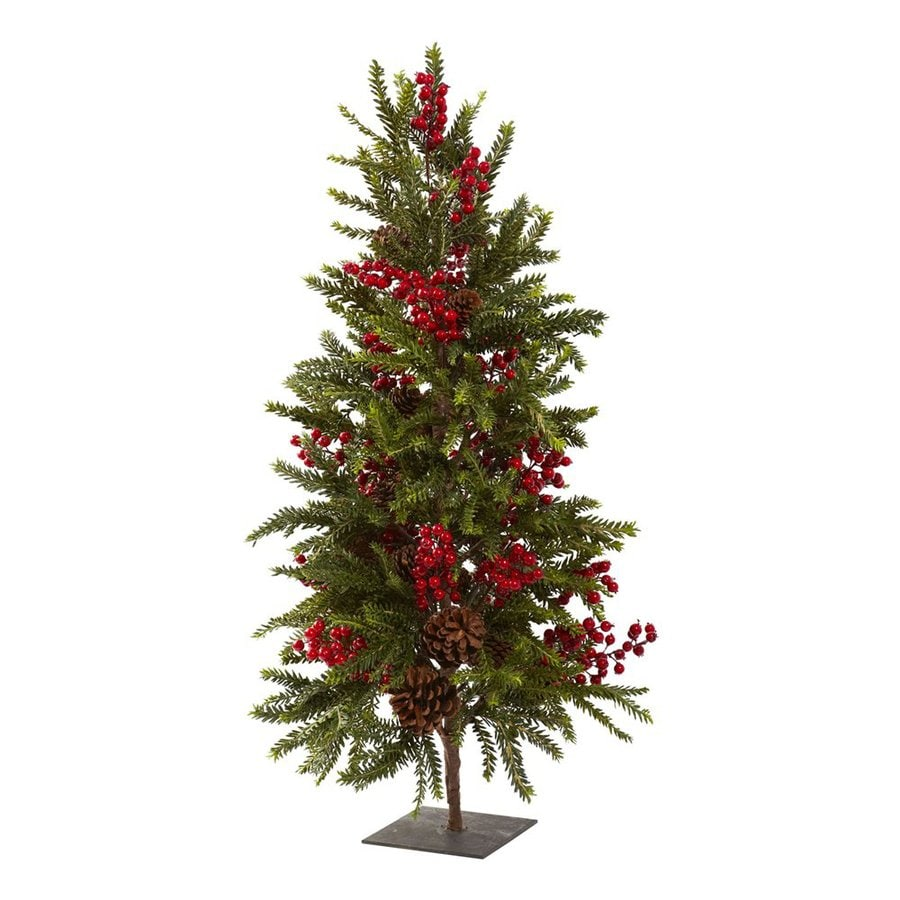 Nearly Natural Pine and Berry 2.9-ft Unlit Winterberry Artificial Christmas Tree