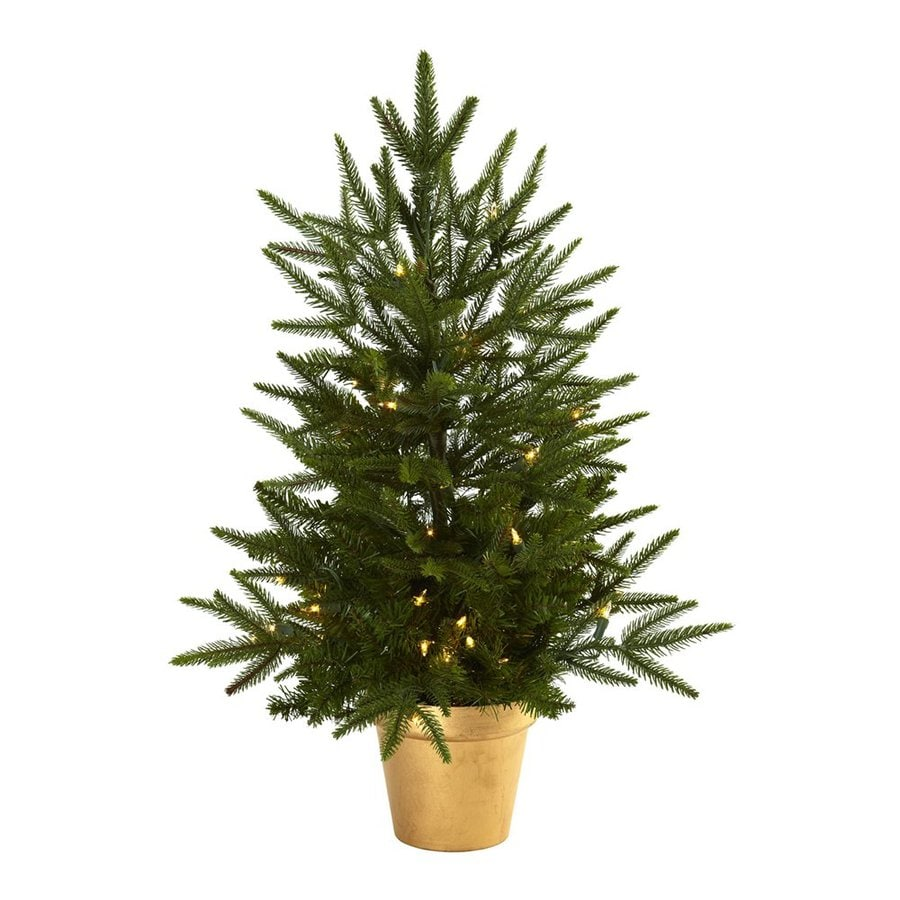 Shop Nearly Natural 2 Ft 6 In Pre Lit Artificial Christmas