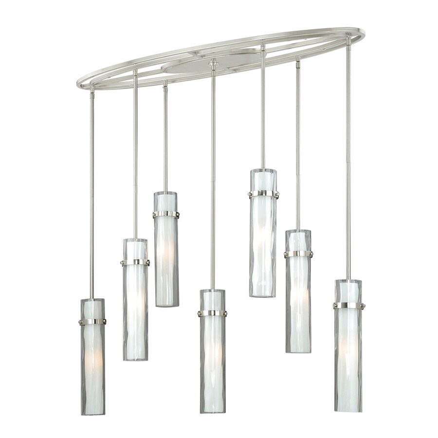 Cascadia Vilo 37-in Satin Nickel Multi-Light Clear Glass Cylinder Pendant