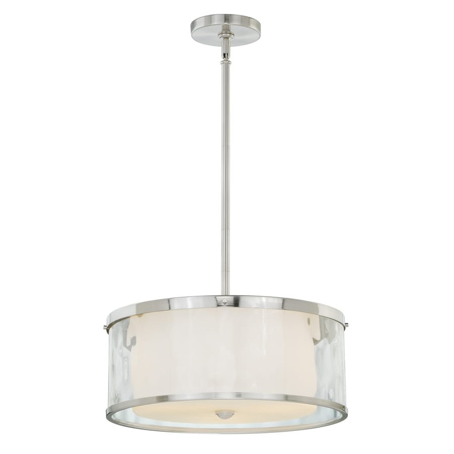 Cascadia Vilo 16.25-in Satin Nickel Single Drum Pendant