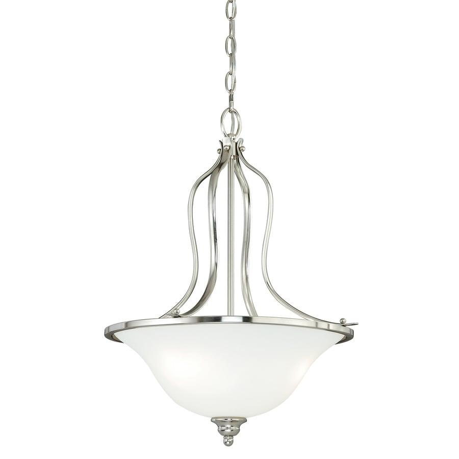 Cascadia Darby 18-in Satin Nickel Single Etched Glass Bowl Pendant