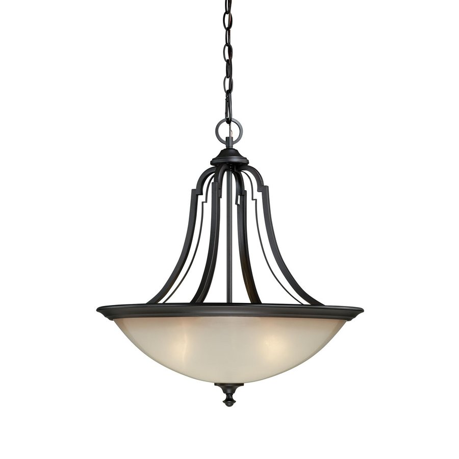 Cascadia Elba 21-in New Bronze Wrought Iron Single Tinted Glass Bowl Pendant