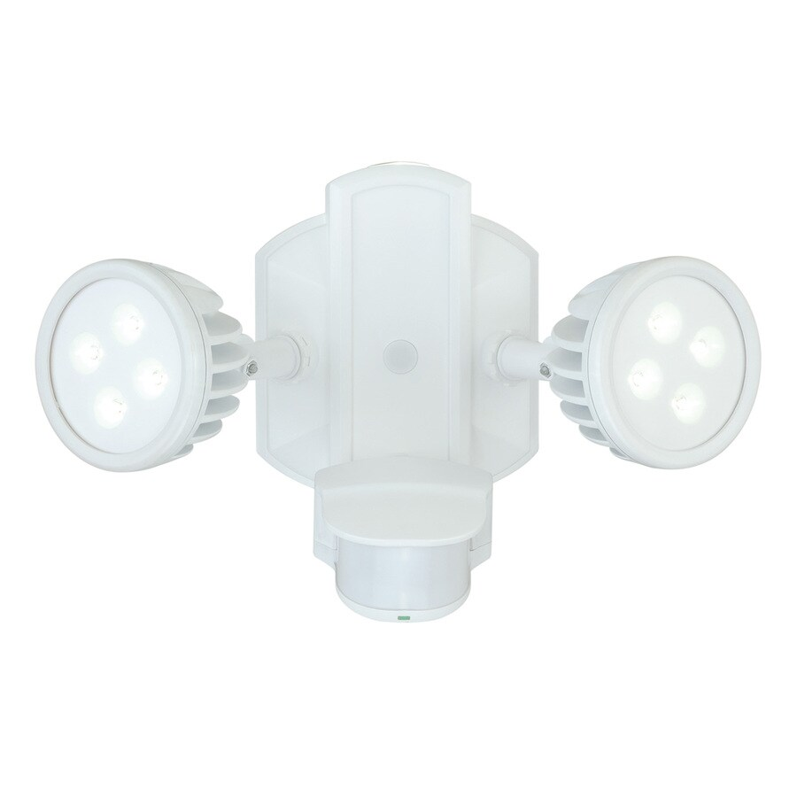 Cascadia Lambda 240-Degree 2-Head Dual Detection Zone White LED Motion-Activated Flood Light with Timer