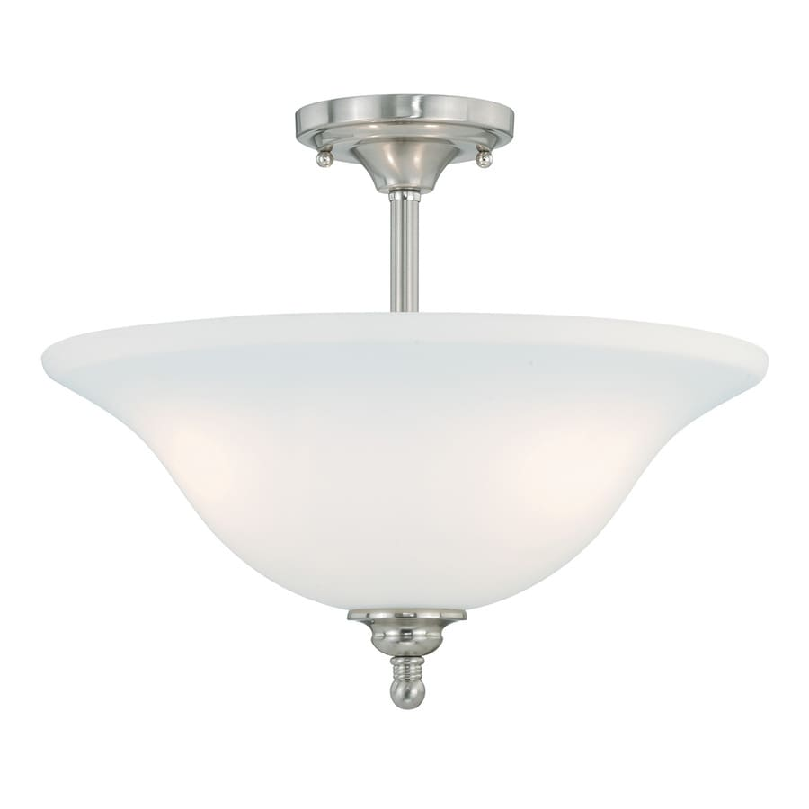 Cascadia Concord 15.75-in W Satin Nickel Frosted Glass Semi-Flush Mount Light
