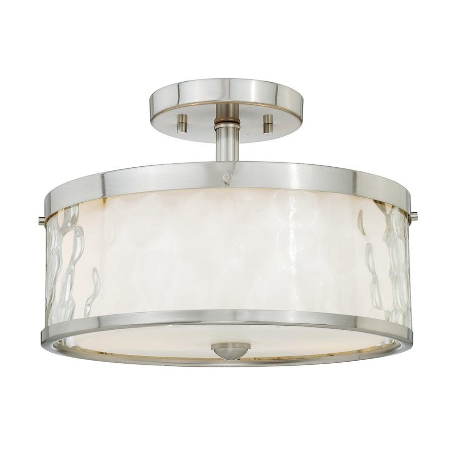 Cascadia Vilo 12-in W Satin Nickel Frosted Glass Semi-Flush Mount Light
