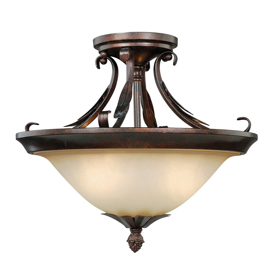 Cascadia Coricelli 13-in W Royal Bronze Tea-Stained Glass Semi-Flush Mount Light