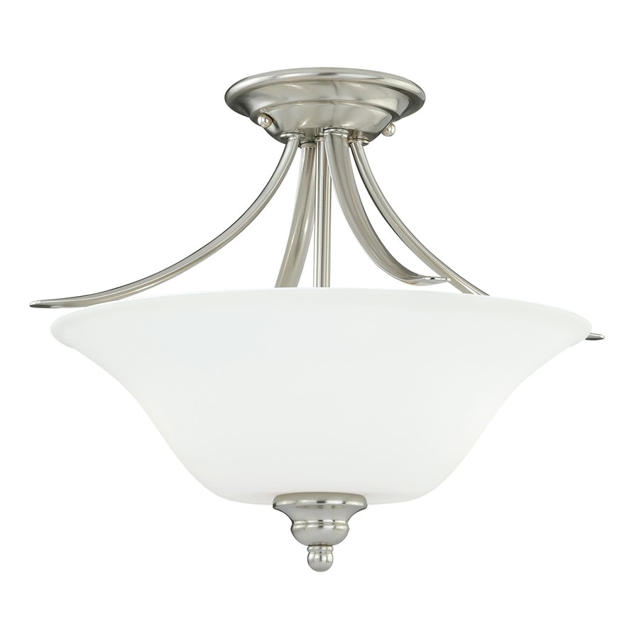 Cascadia Darby 16-in W Satin Nickel Frosted Glass Semi-Flush Mount Light