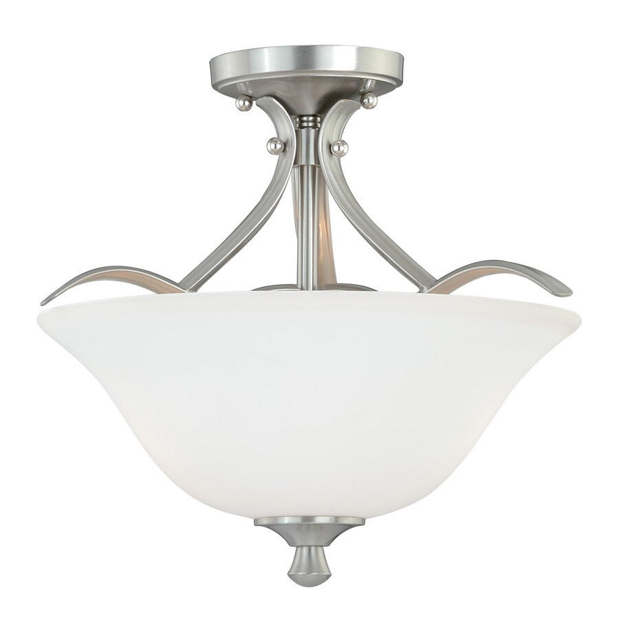 Cascadia Cordoba 16-in W Satin Nickel Frosted Glass Semi-Flush Mount Light