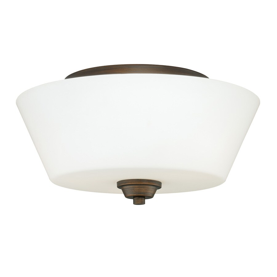 Cascadia Calais 13-in W Venetian Bronze Frosted Glass Semi-Flush Mount Light