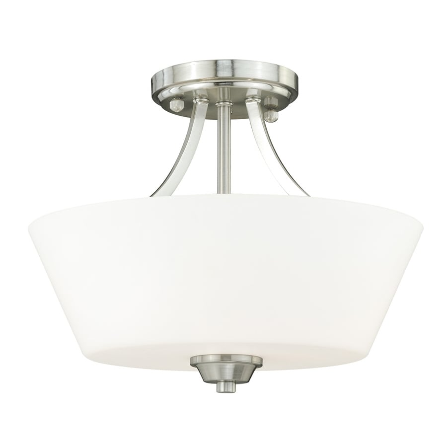 Cascadia Calais 13-in W Satin Nickel Frosted Glass Semi-Flush Mount Light