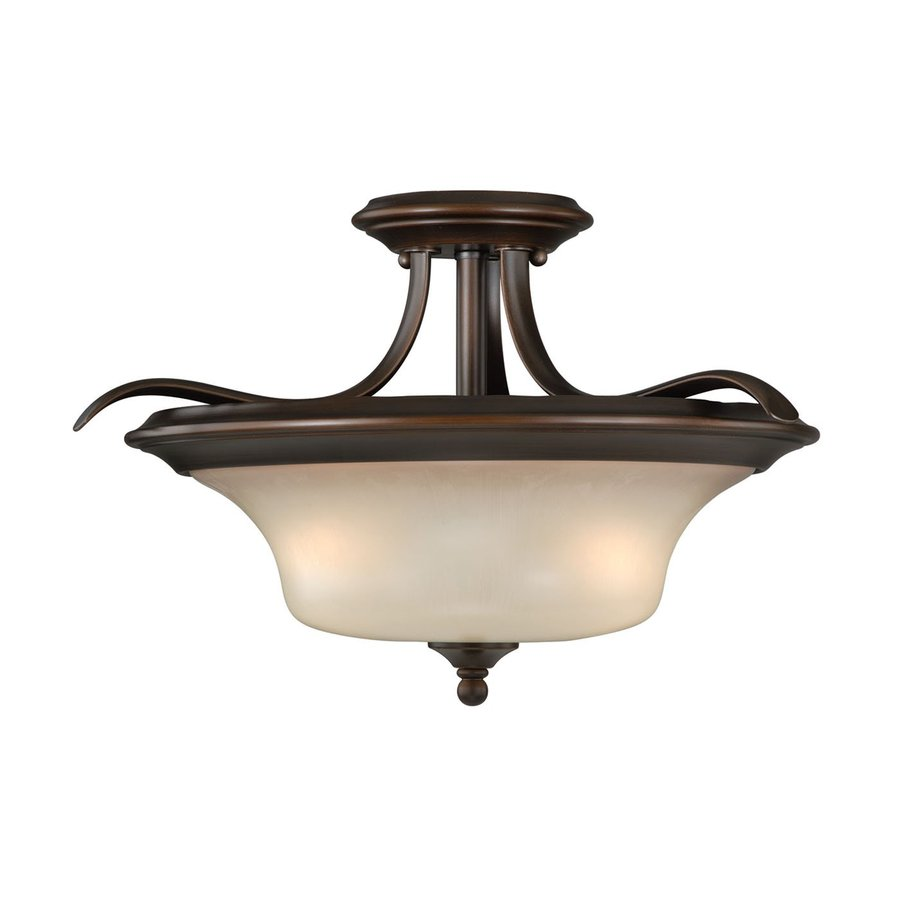 Cascadia Sonora 16.5-in W Venetian Bronze Tea-Stained Glass Semi-Flush Mount Light
