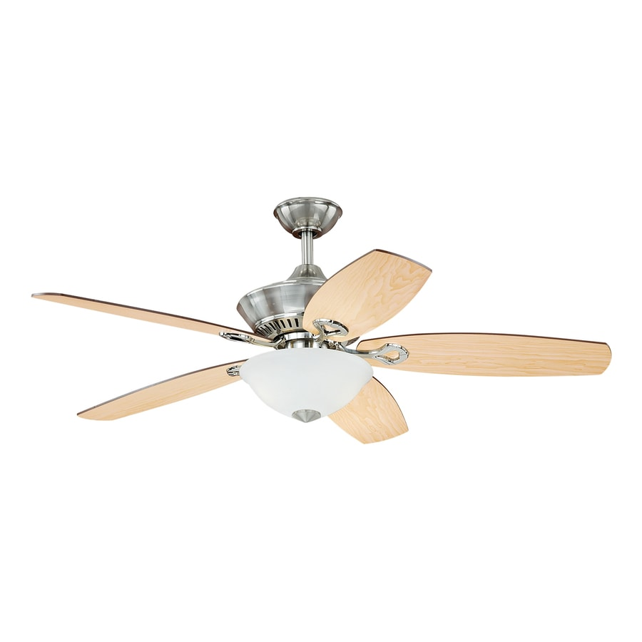 Cascadia April 52-in Satin Nickel Downrod Mount Indoor Ceiling Fan with Light Kit and Remote (5-Blade)
