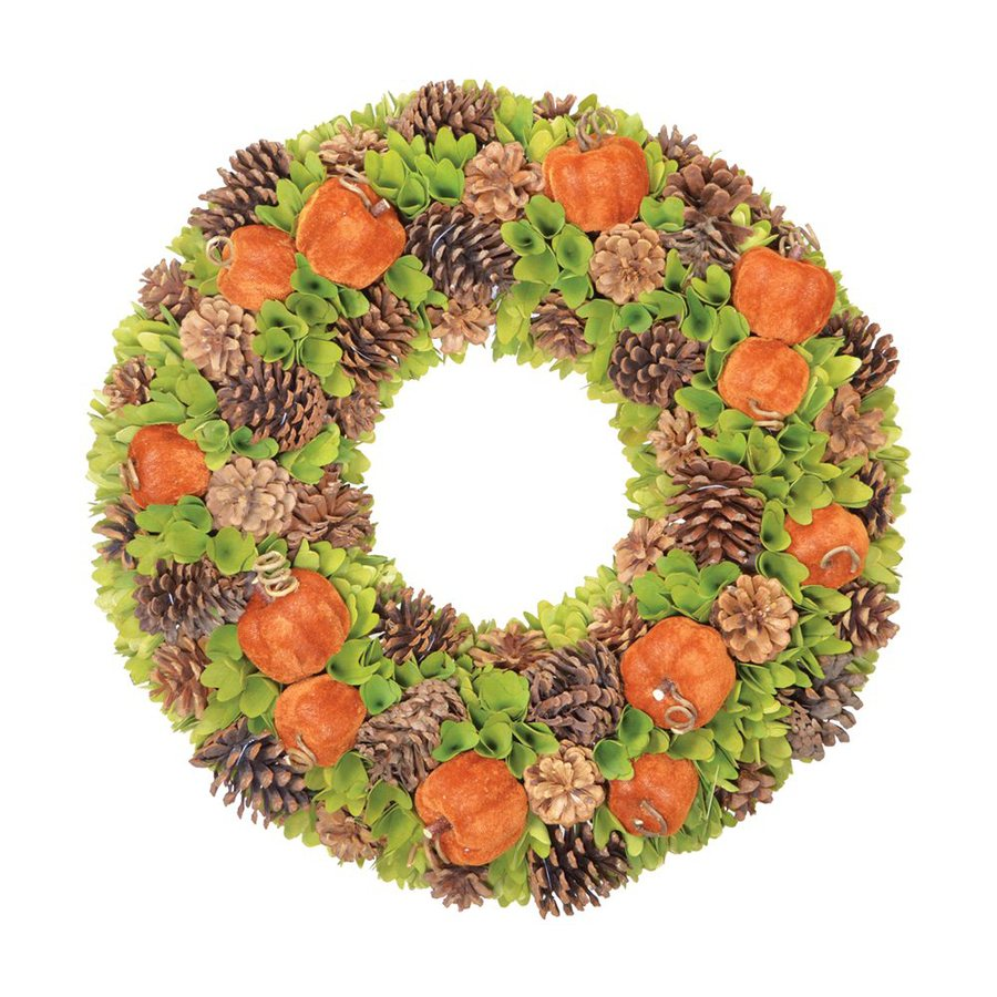 Fantastic Craft 22-in Gourd Artificial Thanksgiving Wreath with (Unlit) (Unlit) Lights