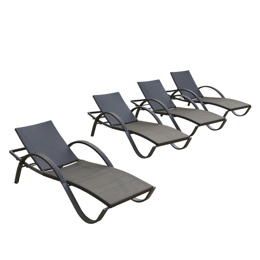 RST Brands Deco 4-Count Espresso Wicker Stackable Patio Chaise Lounges
