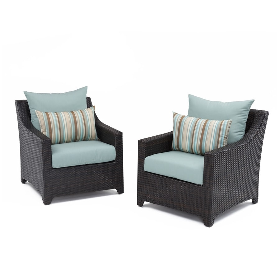 RST Brands Deco 2-Count Espresso Aluminum Wicker Patio Conversation Chair with Bliss Blue Sunsharp Cushion(s) Included