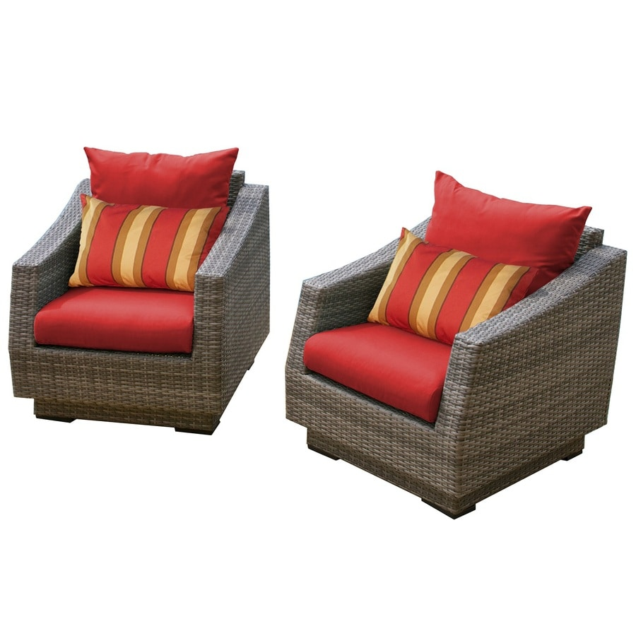 RST Brands Cannes 2-Count Weathered Grey Wicker Patio Conversation Chairs